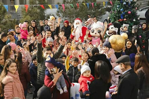 A festivity takes place in the Yasamal Residential Complex