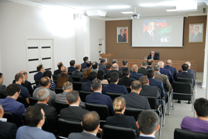 An event takes place at the State Housing Development Agency to mark the 96th anniversary of National Leader Heydar Aliyev
